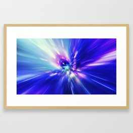 Interstellar, time travel and hyper jump in space. Flying through wormhole tunnel or abstract energy Framed Art Print