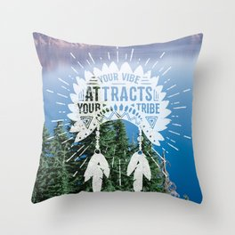 Your Vibe Attracts Your Tribe - Crater Lake Throw Pillow