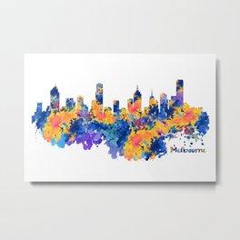 Melbourne Watercolor Skyline Metal Print