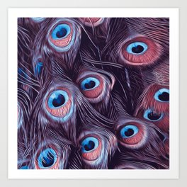 PEACOCK FEATHERS1 Art Print