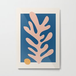 Matisse cut out pink leaf on blue Metal Print