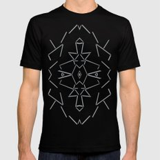 Abstract Lines Black and Silver M MEDIUM Mens Fitted Tee Black