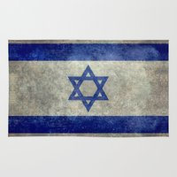 palestine Area & Throw Rugs featuring The National flag of the State of Israel - Distressed worn version by LonestarDesigns2020 is Modern Home Decor