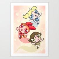powerpuff girls Art Prints featuring Powerpuff Girls by catawump