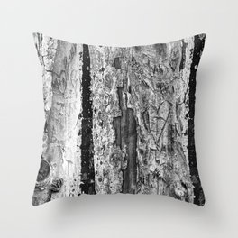 Carvings in Tree Trunk Gnarly Texture Pattern Throw Pillow