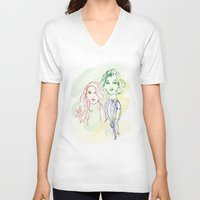 girls V-neck T-shirts featuring Girls by Duru Eksioglu