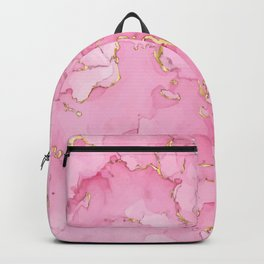 Rose gold pink ink marble Backpack