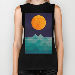 The ocean, the sea, the wave - night scene Biker Tank