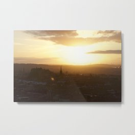 Salisbury Crags overlooking Edinburgh at sunset 3 Metal Print