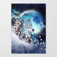 wolf and sakura in the moolight Canvas Print