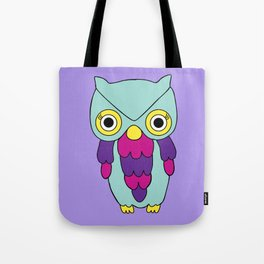 Psychedelic Woodland Turquoise Owl Tote Bag