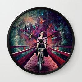 Girl with a bike Wall Clock