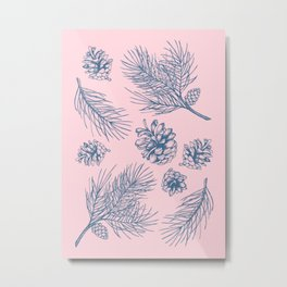 Pine Cones and Pine Branches Pattern (Pink and Blue) Metal Print