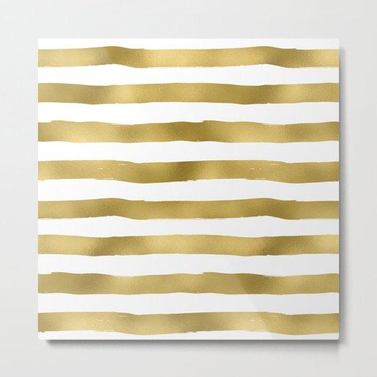 Gold stripes on clear white - horizontal pattern Metal Print