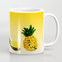 psych Mugs featuring are you a fan of delicious flavor? .. psych tv show.. funny quote.. pineapple by studiomarshallarts