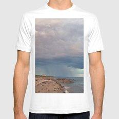 Rain Curtain on the Sea MEDIUM White Mens Fitted Tee