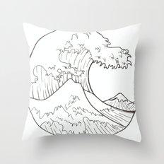 The wave of Kanagawa Throw Pillow