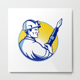 Coal Miner Fountain Pen Mascot Metal Print