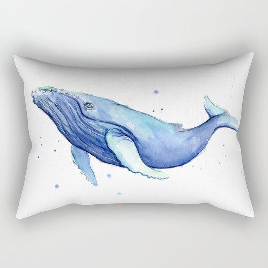 Humpback Whale Watercolor Animal Painting Nursery Animals Rectangular Pillow