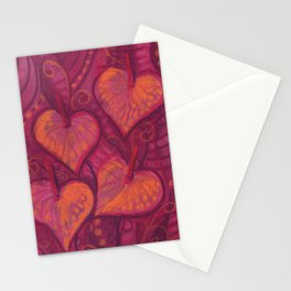 Hearty Flowers / Anthurium, pink, red & orange Stationery Cards