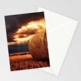 bales of hay in warm tones HDR Stationery Cards