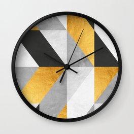 Golden Geometric Art Wall Clock