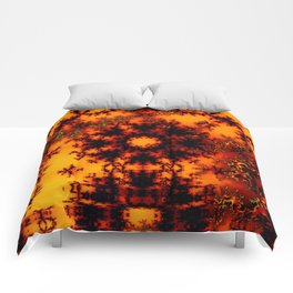 Mystical Golden Fire Lake, Abstract Fractal Baroque Illusion Comforters