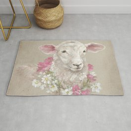 Sheep With Floral Wreath by Debi Coules Rug