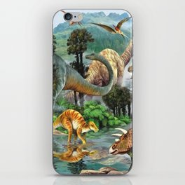 Jurassic dinosaurs drink in the river iPhone Skin