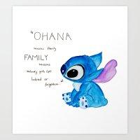 ohana Art Prints featuring Ohana by nafrodrigues
