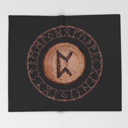 Perthro Elder Futhark Rune of fate and the unmanifest, probability, luck, nothingness, the unborn Throw Blanket