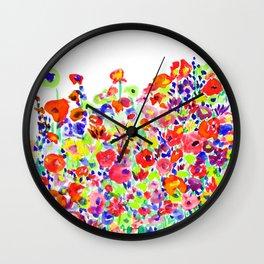 Flower Fields Tangerine Wall Clock