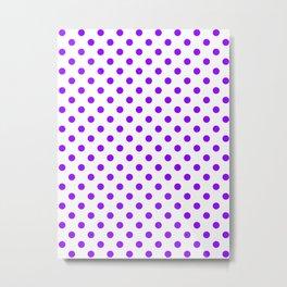 Small Polka Dots - Violet on White Metal Print