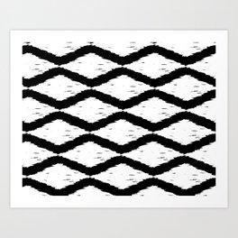 Black and White Tribal Ikat Pattern Art Print