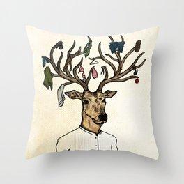 Evicted deer Throw Pillow