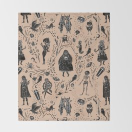 Creatures of the Night (orange) Throw Blanket
