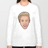 miley cyrus Long Sleeve T-shirts featuring Miley Cyrus by Michael Walchalk
