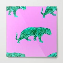 Vintage Cheetahs in Lilac + Jade Metal Print