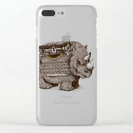 Woolly Typewriter Rhino Clear iPhone Case