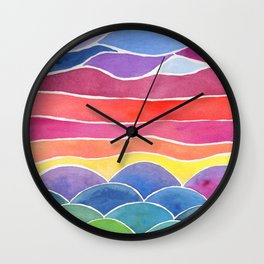 Happy Hills Watercolor Landscape and Sky Wall Clock