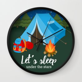 Camping blue tent Wall Clock