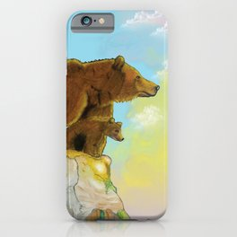 Grizzly momma bear and cub standing on a rock looking the forest iPhone Case