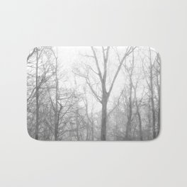 Black and White Forest Illustration Bath Mat