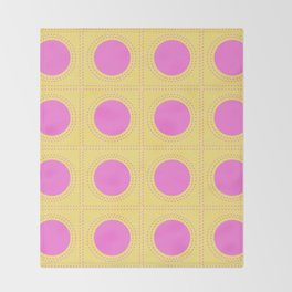 Quilt Circle Stitch Style - Light Yellow Pink Throw Blanket