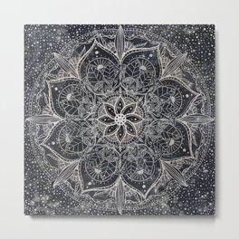 Trendy Silver Floral Mandala Blue Marble Design Metal Print