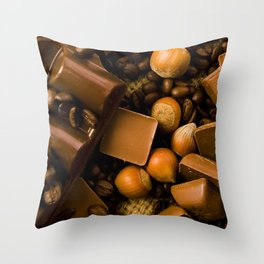 Chocolate and Nuts Throw Pillow