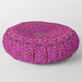 Deep Pink Garden Mandala Floor Pillow