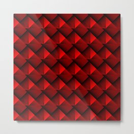 Abstract fish scales from red braided squares with bright futuristic checkers.  Metal Print