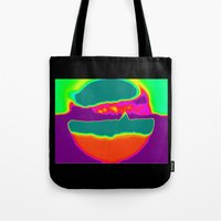hamburger Tote Bags featuring Psychedelic Hamburger by Tanella