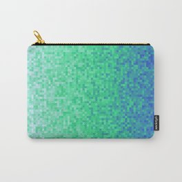 Deep Sea Green Blue Pixilated Gradient Carry-All Pouch
